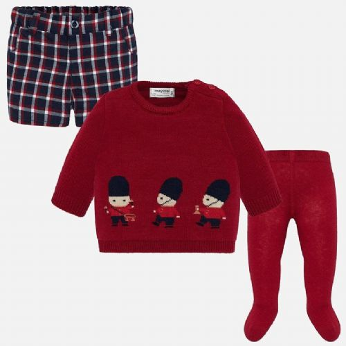 Boys Red Jumper and Shorts Set
